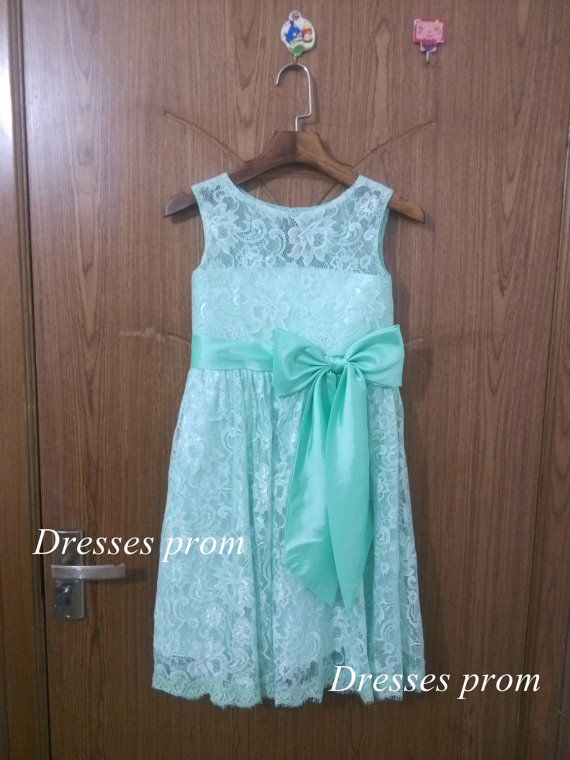 mint Lace Flower Girl dress Bridal Princess Dress von Dressesprom