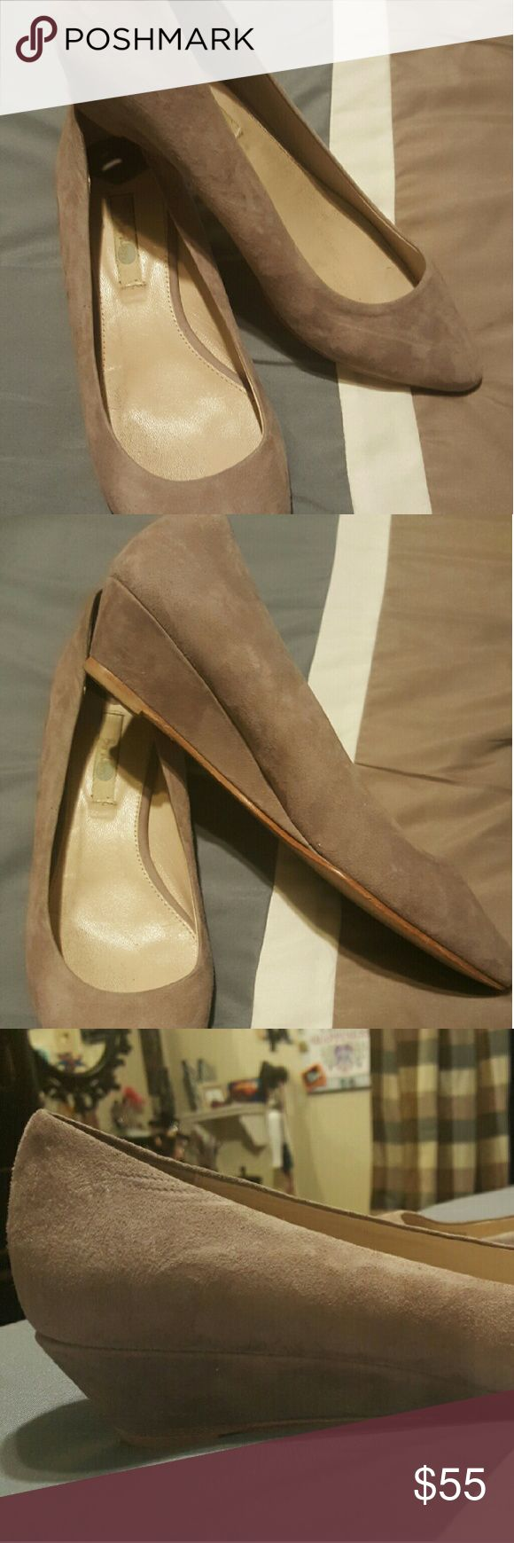 BODEN shoes Beige genuine suede leather upper kitten wedges. Suede shows no signs of wear. Still have plenty of life. Boden Shoes Wedges