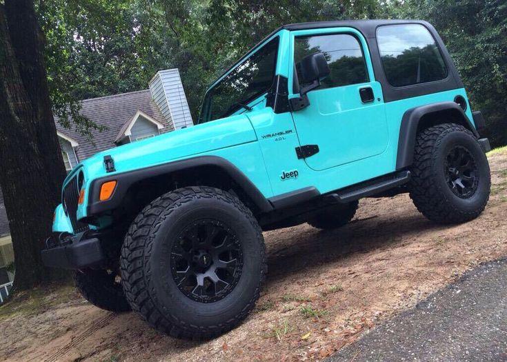 Tiffany blue, 2 door Jeep