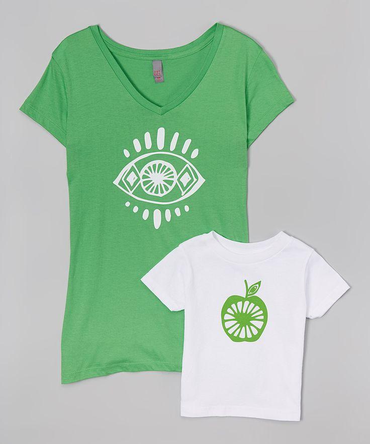 Apple Green Eye Tee & White Tee - Toddler Kids & Women
