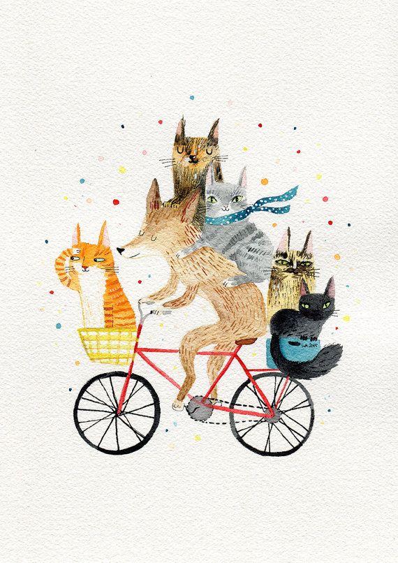 Perro y 5 gatos, animales A4 impresión de ciclismo