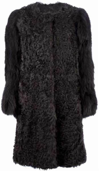 Meteo By Yves Salomon Gray Fur Coat