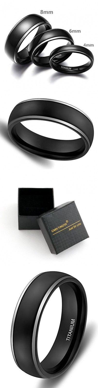 4mm 6mm 8mm Titanium Rings Black Dome Two Tone Polish Wedding Engagement Band for Men Women (6mm (Titanium), 9.5)