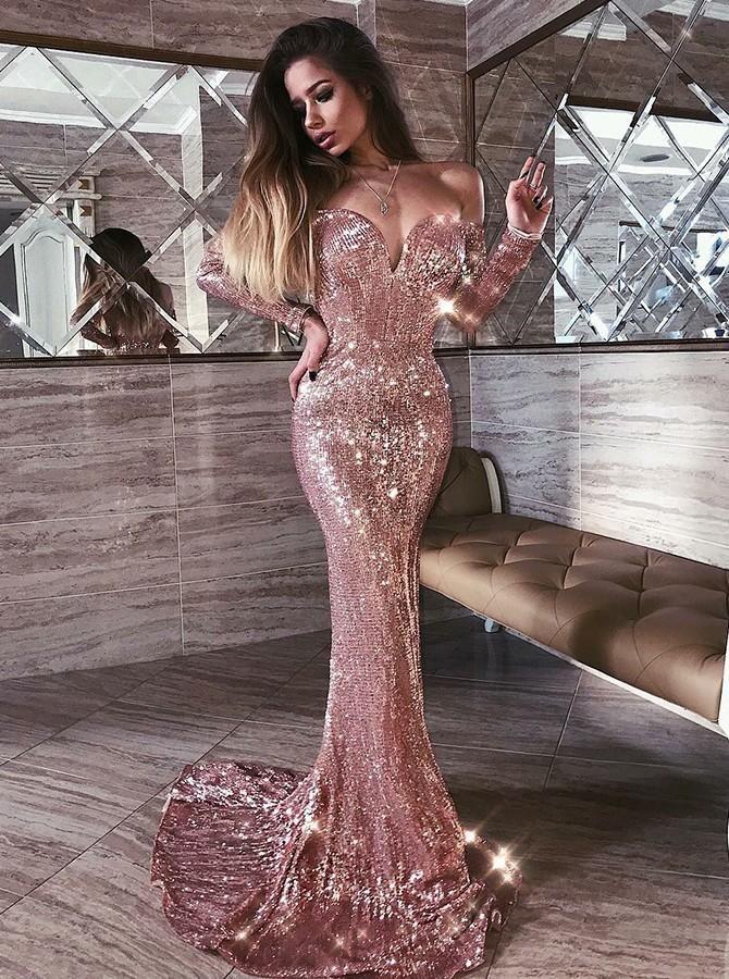 Elegant Prom Dress, Mermaid Off Shoulder Rose Gold Sequined Long Sleeves Prom Evening Dress – Clothes
