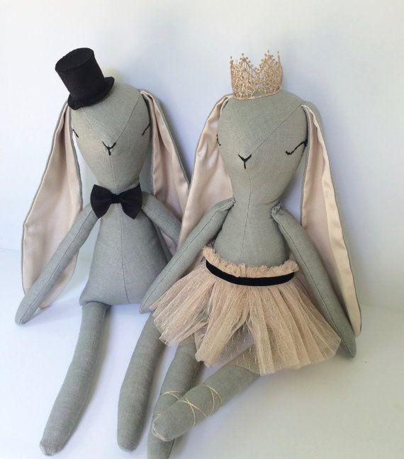 Woodland Bunny Doll Family, Wedding Gift, Tutu Doll, Cloth Doll Handmade, Rabbit…