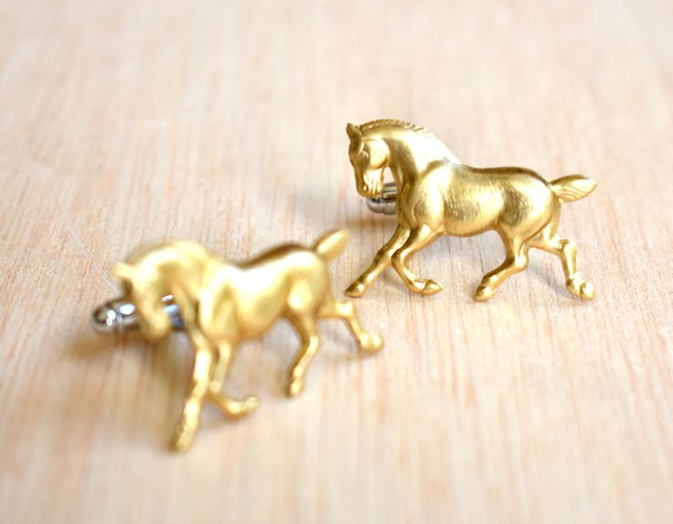Horse Cuff Links, Gold Horse Cufflinks, Kentucky Derby, Groom Gift, Equestrian Horse, Cowboy Cuff Links, Gift for Him,  Horse Eventing Gift by redtruckdesigns on Etsy