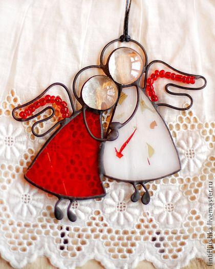 Элементы интерьера ручной работы. Ярмарка Мастеров - ручная работа ангелы пара витраж 13 бронь. Handmade.