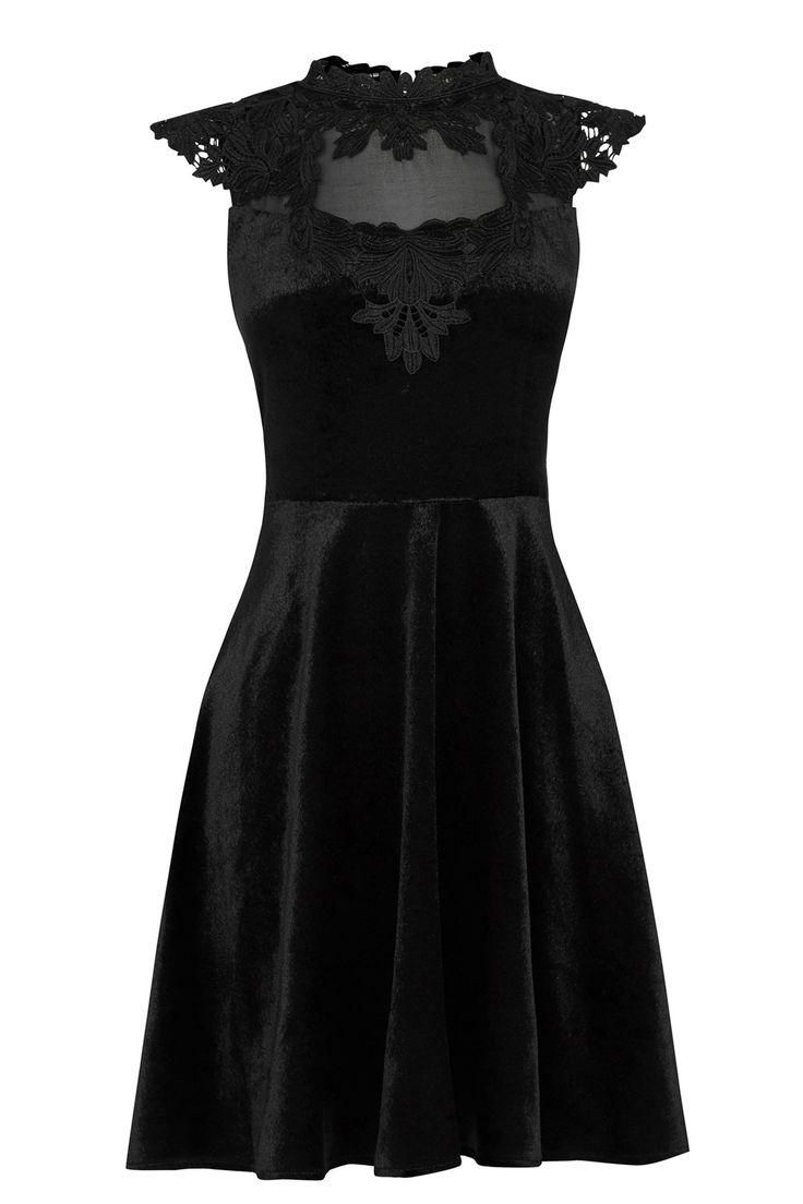| Black Velvet Lace Trim Skater | Oasis