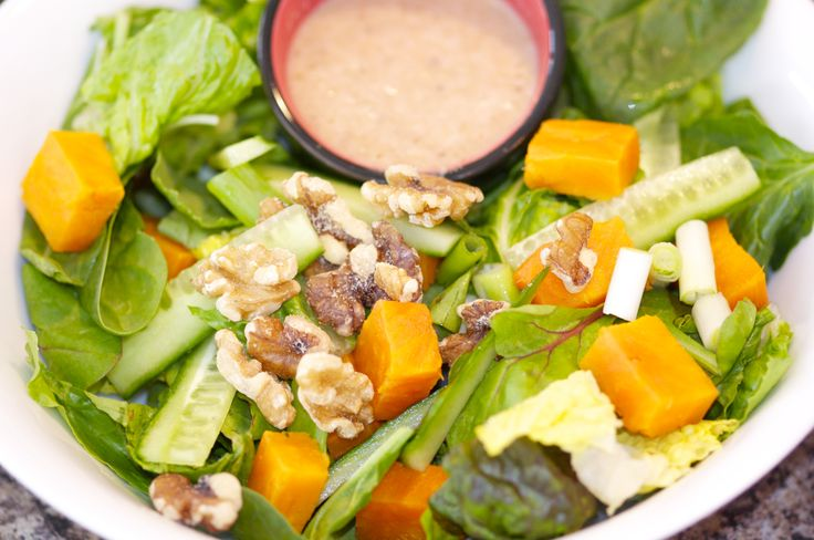 Roasted Yam Salad with Walnut apple dressing recipe at https://www.facebook.com/photo.php?fbid=618923944862090&set=a.585424158212069.1073741830.585066831581135&type=1&theater