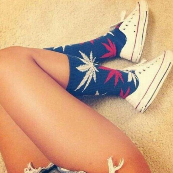 ???? Merica Weed Leaf Socks Plant Life Weed Leaf/Marijuana Socks UNISEX Red/White\Blue  ???? Perfect for 4th of July coming up!! ???? Accessories Hosiery & Socks