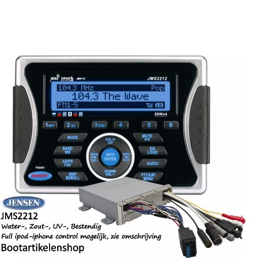 Jensen Marine JMS2212 boot radio combinatie. USB/AUX (mp3, mp4, wma) Full ipod- iphone control mogelijk, zie omschrijving.