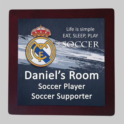 Personalised Framed Tile, Children's Room Sign, Soccer Real Madrid