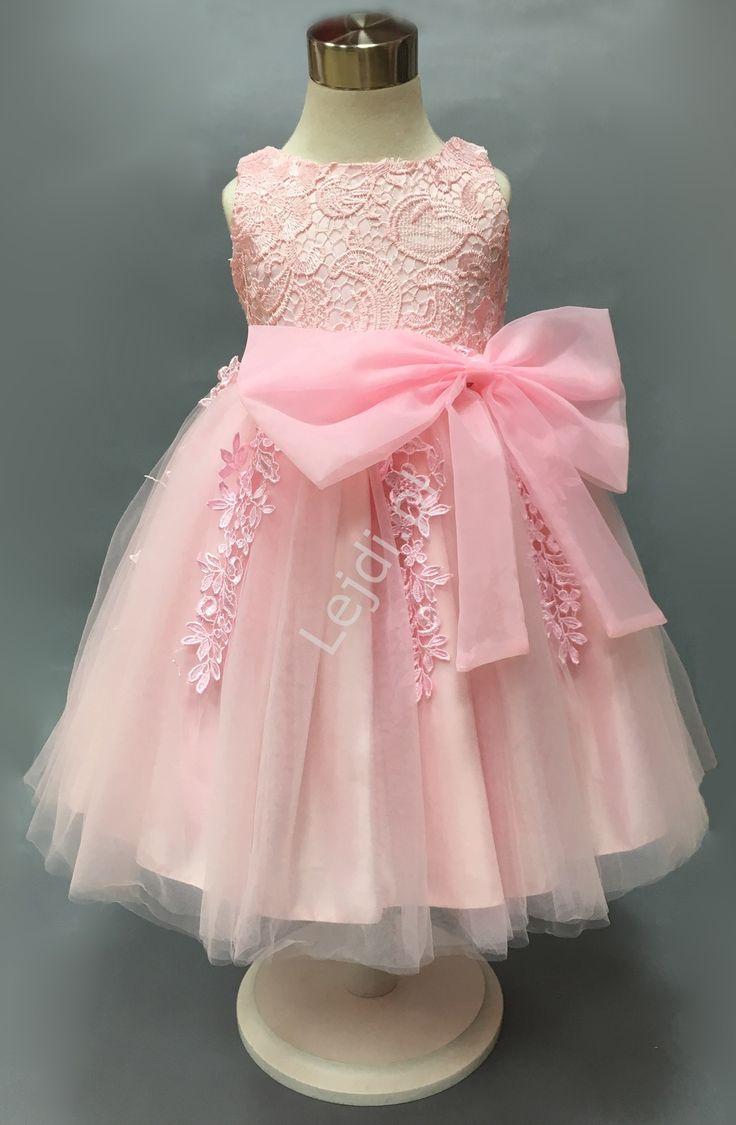 Light pink baby girl dresses. Przepiękna różowa sukienka dla dziewczynki, bogato zdobiona gipiurową koronką www.lejdi.pl