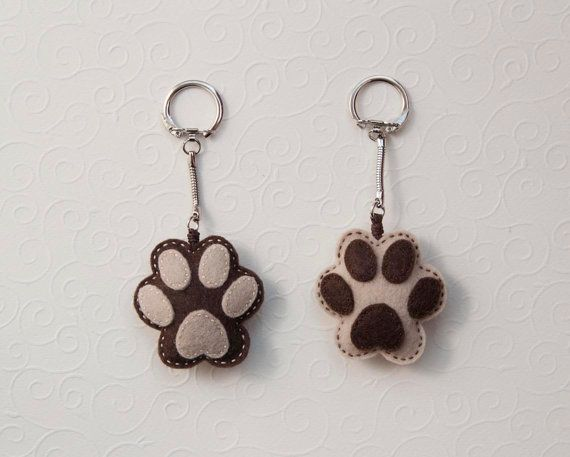 Felt dog paw key chain pendant by suyika on Etsy