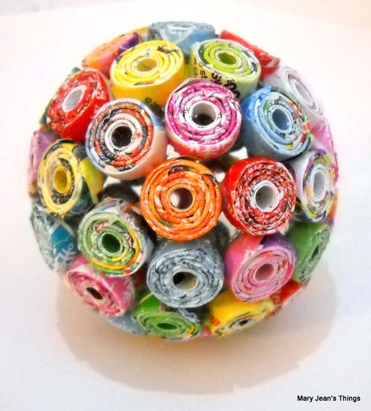 rainbow paper ball from a upcycled toy catalogs by MaryJeansThings