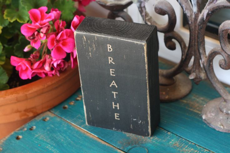 breathe yoga decor meditation home decor rustic office decor quote block black quote customize distressed rustic sign (13.00 USD) by DaisyThirteen