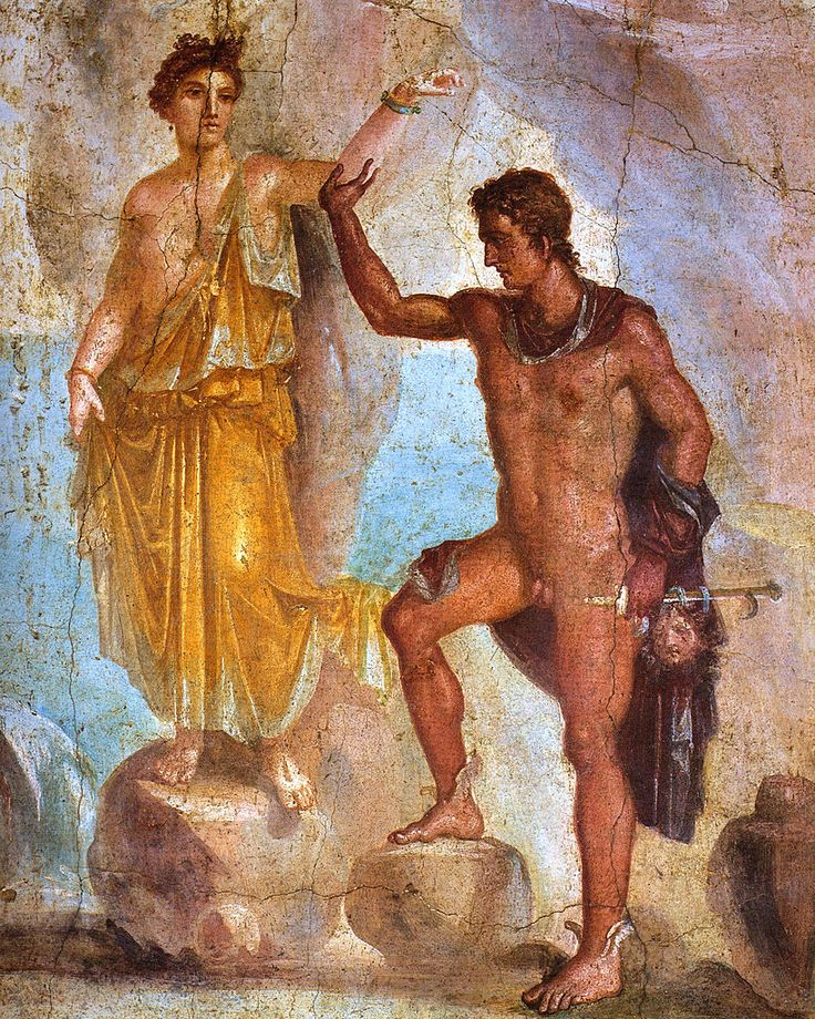Andromeda and Perseus, Roman fresco from Pompeii, ca 1st century AD, (Museo Archeologico Nazionale, Naples).