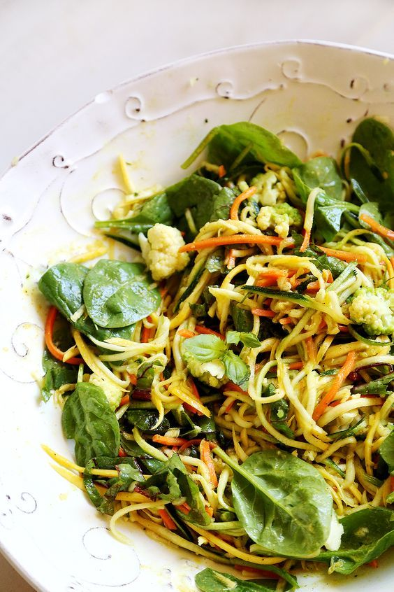 Zucchini Squash Noodle Salad with Greens - Recipes, Vegetables - Divine Healthy Food
