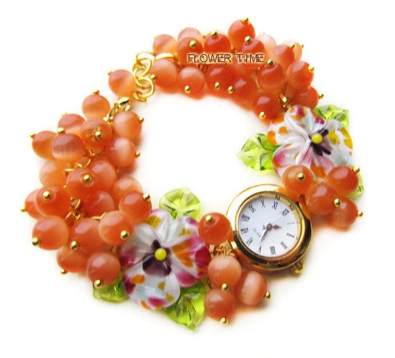 Wrist watch Woman watch Floral watch Lampwork watch by FlowerWatch