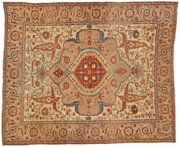 Lot 2281  A SERAPI CARPET  Northwest Persia size approximately 9ft. 10in. x 12ft.  Sold for US$ 21,250 inc. premium  FINE ORIENTAL RUGS AND CARPETS  23 May 2016, 13:00 PDT    LOS ANGELES