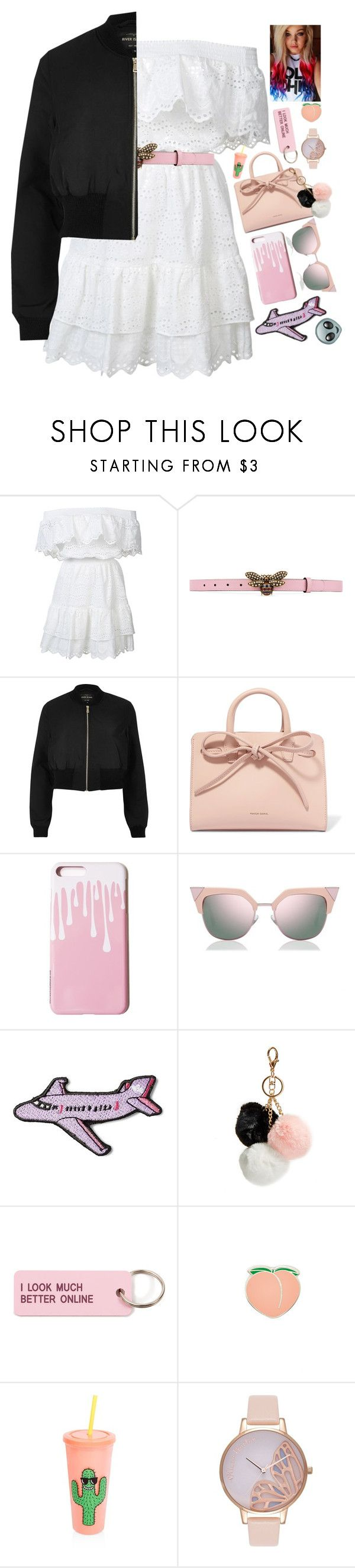 """""""Lauren Disco"""" by alyssajspolyvore ❤ liked on Polyvore featuring LoveShackFancy, Gucci, River Island, Mansur Gavriel, Fendi, Stoney Clover Lane, GUESS, Various Projects, PINTRILL and Sunnylife"""