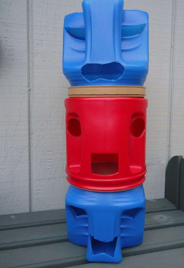 container de cafea statui Tiki, meserii, cum să, de viață în aer liber, upcycling repurposing