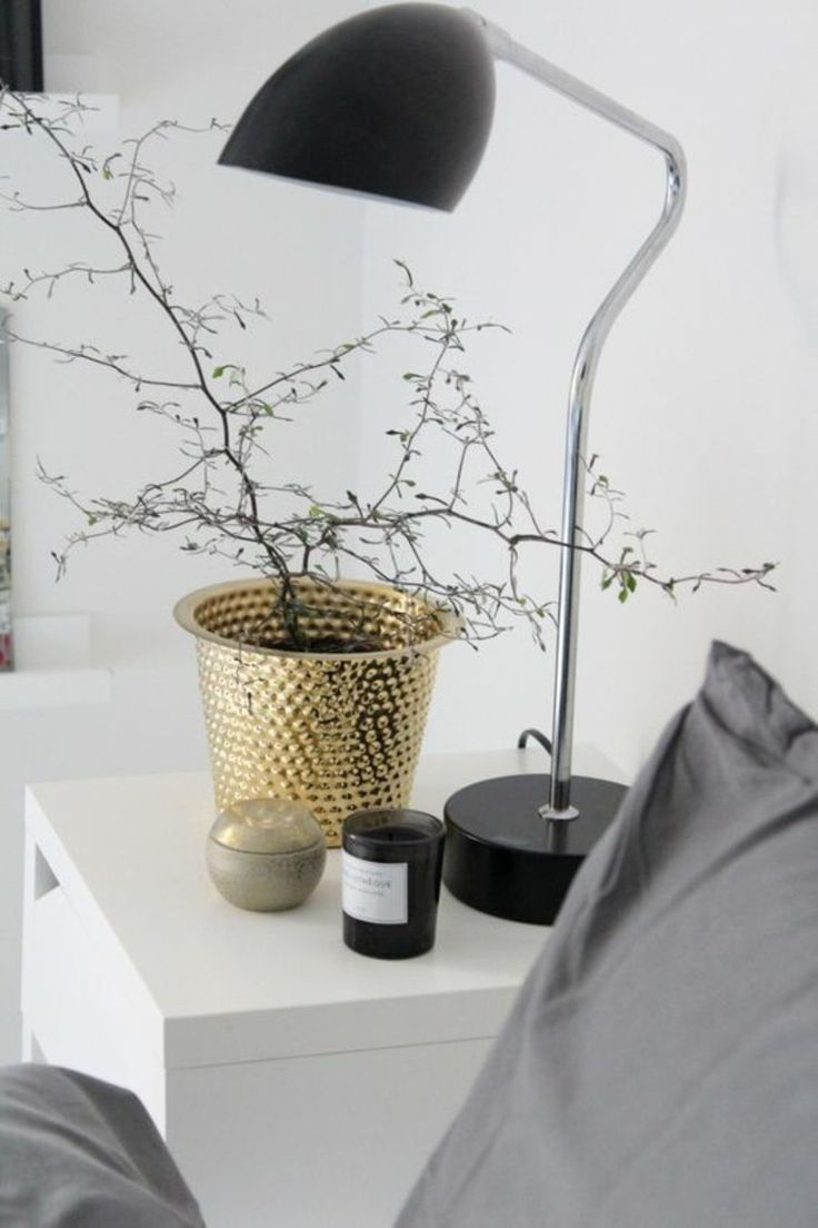 Golden Home Accessories Planter On The Nightstand