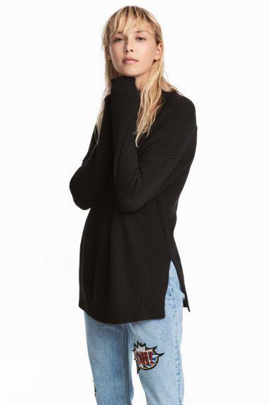 Pulover cu guler înalt - Negru - FEMEI | H&M RO 1
