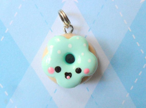 Polymer Clay Kawaii Doughnut Charm Mint                                                                                                                                                                                 More