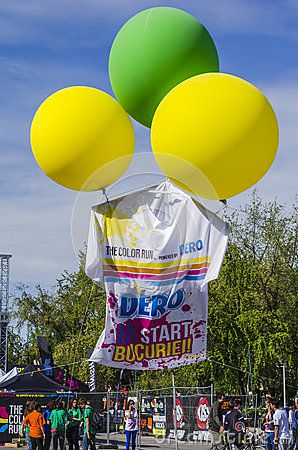 Giant T-shirt in the air at the first edition of Color Run Bucharest in 2014