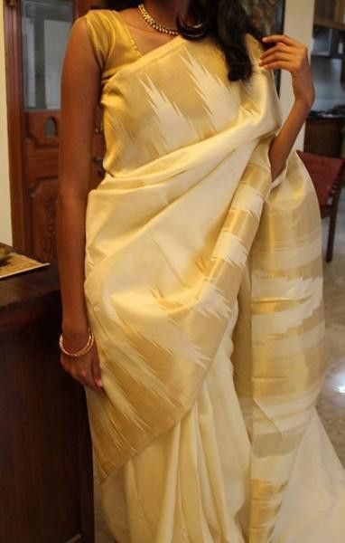 offwhite and gold Kanchevaram silk saree