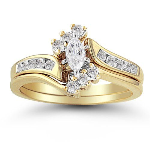 14k Yellow Gold Marquise and Round Diamond Bypass with Interlocking Band Bridal Set (0.50 cttw I-J Color, I2 Clarity)