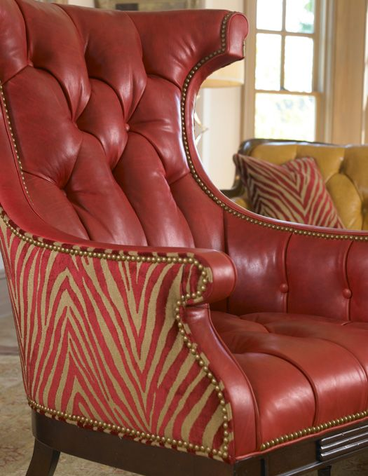 Red Leather Accent Chair ~ Handcrafted Furniture by Hancock and Moore