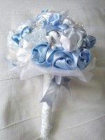 blue fabric wedding bouquet