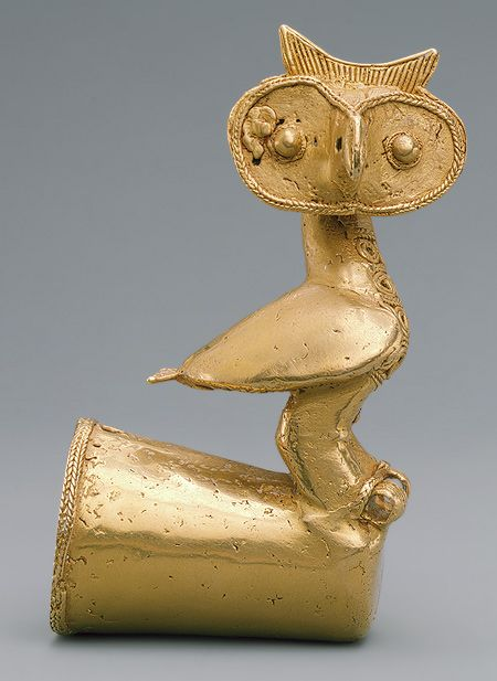 Staff Head with Owl, 5th–10th century  Colombia; Sinú  Cast gold  H. 4 3/4 in. (12.1 cm):