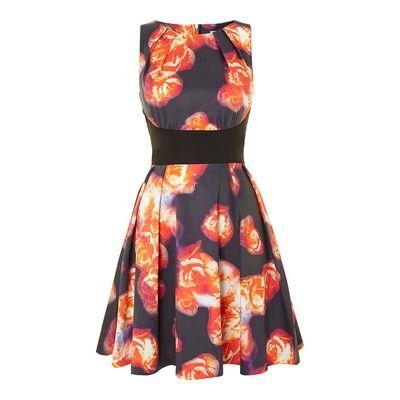 Almari Print Pleat Neck Full Dress