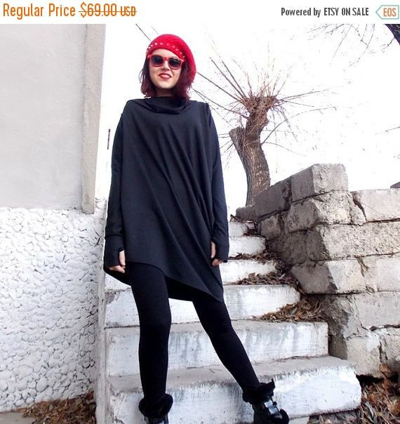 SUN SALE 25% OFF Loose Tunic Top / Asymmetric Black Dress/ Long Sleeved Tunic / Oversize Top Tunic Lara Tt11
