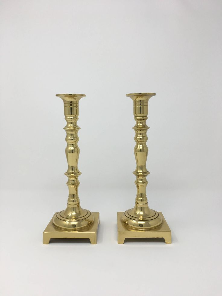 Gold Candle Holders, Pillar Candle Holder Set, Taper Candle Holders, Candle Stick Holders, Brass Candlestick Holders, Home Accessories Items by PatinaDetroit on Etsy