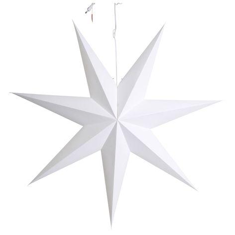 Adventsstjärna DUVA . 100 cm. Stor helt slät adventsstjärna som skapar ett fint ljus i ditt fönster. Sladd med strömbrytare 3,5m ingår.  Finns även en mindre st