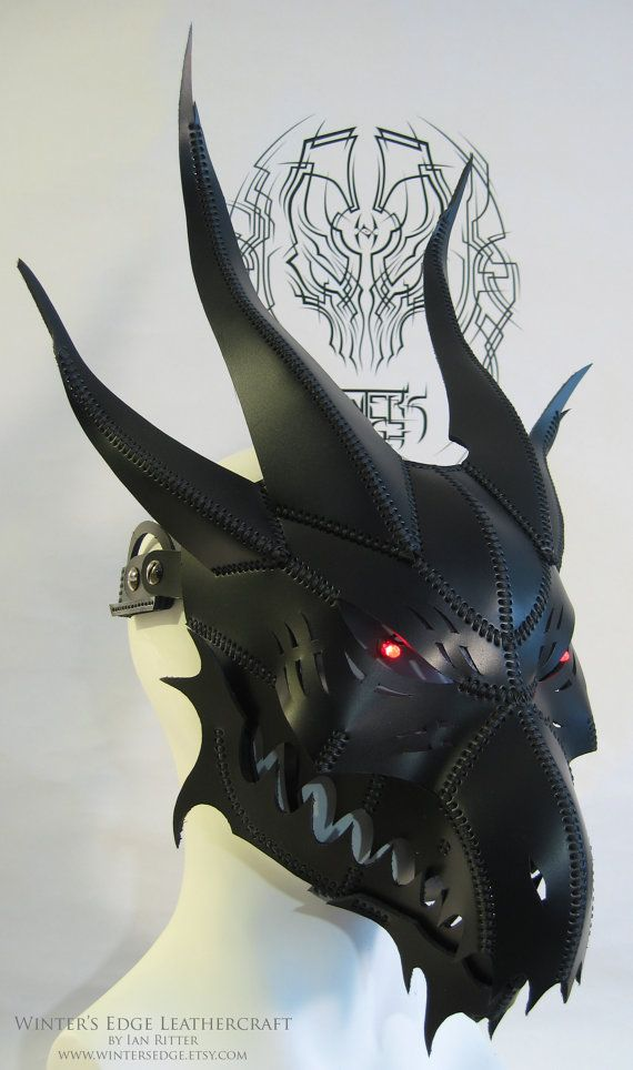 Handmade Black Leather Dragon Mask V3 with moving by WintersEdge
