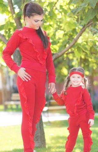 Trening mama fiica din bumbac rosu cu volane