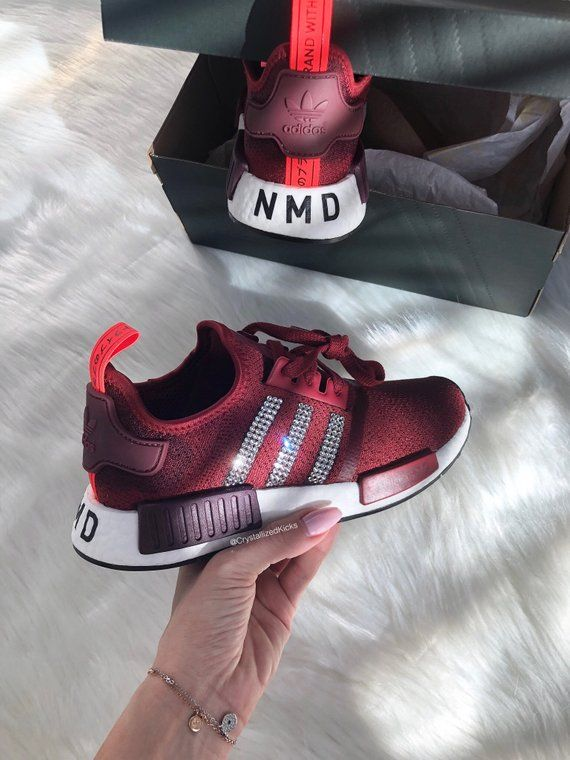 Swarovski Adidas NMD R1 Runner Women Made with SWAROVSKI® Xirius Rose  Crystals - Burgundy White Red 2e43b524f