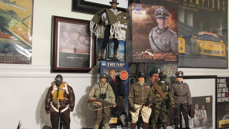 """1/12 scale replica figures of movie and historical people. P-51 pilot, Capt. Miller """"Saving Private Ryan"""", General George S. Patton Jr., Clint Eastwood in """"The Good, the Bad, and the Ugly"""", WWII pathfinder with camoflauge, Ralph Fiennes as Amon Goeth in Schindler's List, German colonel Klaus Von Stauffenberg, and Donald Trump from the Apprentice."""