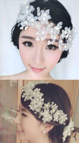 Свадебные аксессуары свадебное платье ювелирные изделия перлы кристаллические тиара цветочные аксессуары для волос ленты для волос высококлассные матовые волосы украшения - Taobao