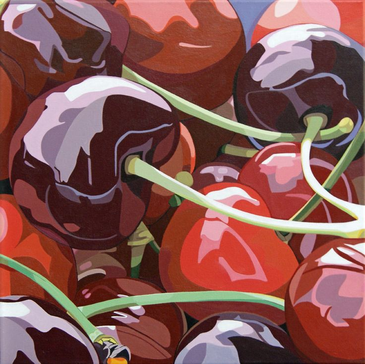 "Abby Hope Skinner; Acrylic, 2010, Painting ""Cherries Red and Black"""