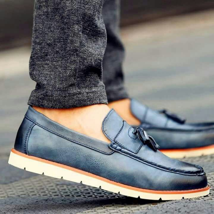 Men's Shoes Loafers Footwear Slip On Dress Casual Fashion Soft Denim Stone Wash Effect Comfort Cushion Stylish Blue Footwear