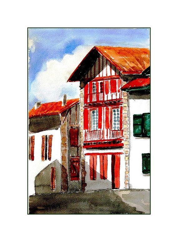 114 best pays basque dessins cliparts images on pinterest basque country - Peinture d une maison ...