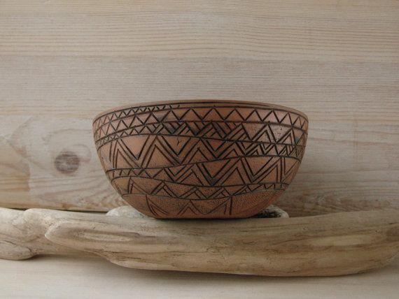 Hand Made Ceramic Eco-Friendly  Bowl Hand Carved