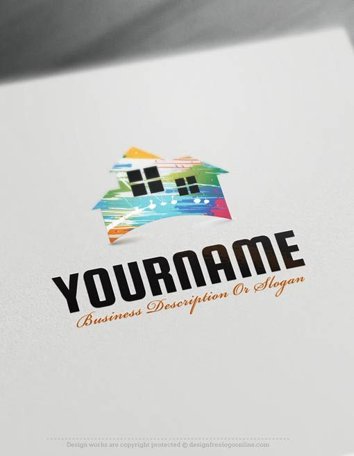 Create a Logo Free - Painting House logo templates Ready made Real Estate logo template Decorated with an image of a house and paint Color spots. This logo images great for Architect, interior designer, Contractor, Renovations and paints houses etc.   How to design free logo online? 1- Customize This logo with our free logo maker tool - Change you company name, slogan, colors & fonts. 2-