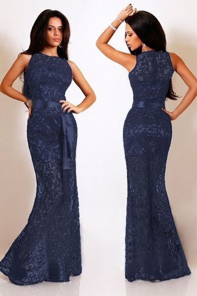 Navy Lace Satin Patchwork Party Maxi Dress novashe.com